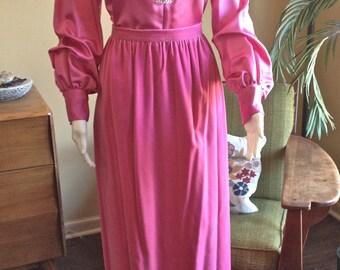 Vintage Mod Formal Maxi Skirt Pink Velvet Satin Top Rhinestones Separates Evening Holiday 1970's two-piece dress