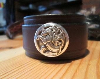 Hand-made leather cuff bracelet - Kells dragon