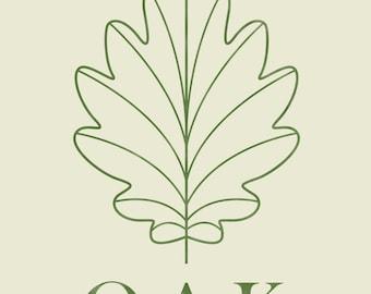 Minimalist Typographic Oak Leaf Printable