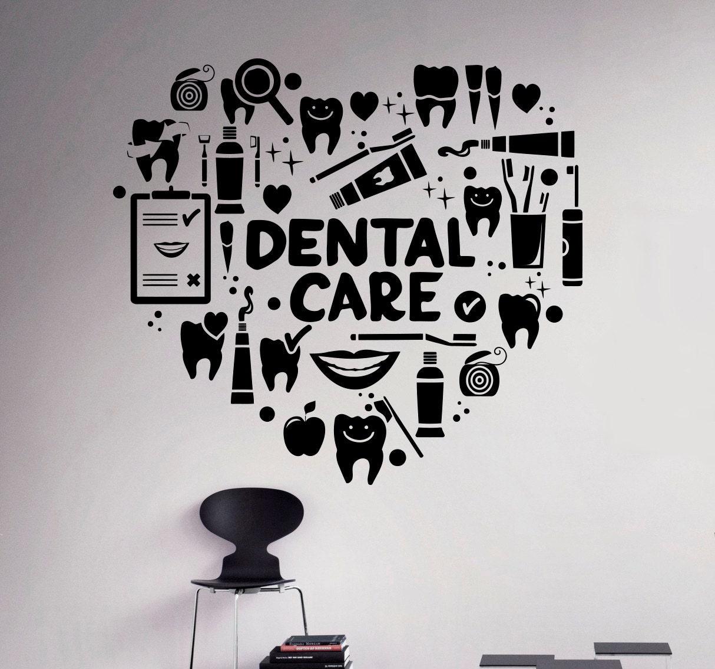 Dental care wall decal dentist vinyl sticker wall art decor for Stickers decorativos de pared