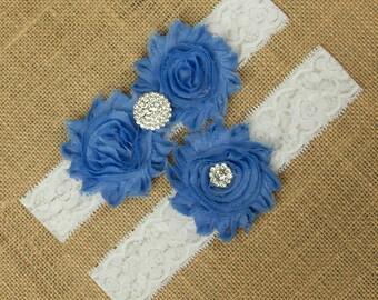 Wedding Garter Belt, Bridal Garter Belt, Blue Wedding Garter, Garter Belt, Something Blue, White Lace Garter, Lace Garter, Garter, SCWS-B09