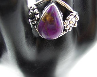 SALE Purple Turquoise With Pyrite Sterling Silver Ring, size 6.75
