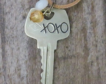 XOXO Key Necklace – Engraved Key Necklace – Hand Stamped Key Jewelry – Love Necklace – Word Key – Upcycled Recycled