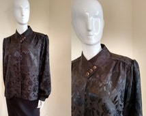 Vintage 1980's New Romantic Black Satin Floral Blouson Blouse Shirt Top made by Canda