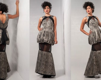 Sz. 6 Snakeprint Trumpet Dress Bubble Skirt Sheer Sections Draping Couture HIgh Fashion Designer Gown
