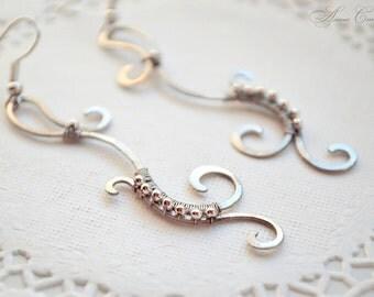 silver jewelry, earrings, beads earrings, dangle earrings, chandelier earrings, drop earrings