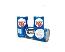 "Three Royal Crown Cola Can, George Brett, Don Sutten, Steve Carlton, partially dented, very minimal rust, fair condition, 5x5x5"" 6oz #2338"