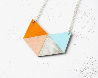Origami leather pendant Geometric necklace Eco friendly jewellery Leather jewellery Statement jewelry