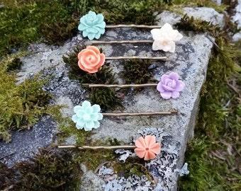 Floral Hair Pin Set, Flower Hair Accessories, Flower Hair Pins,  Floral Bobby Pins, Vintage Bobby Pins, Floral Hair Accessories, Bronze Pins