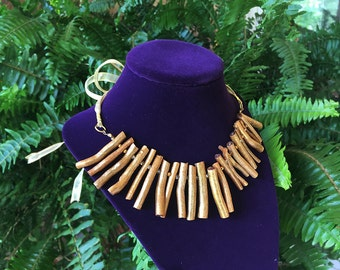 Champagne and Gold Natural Bamboo Coral Necklace and Earrings Set