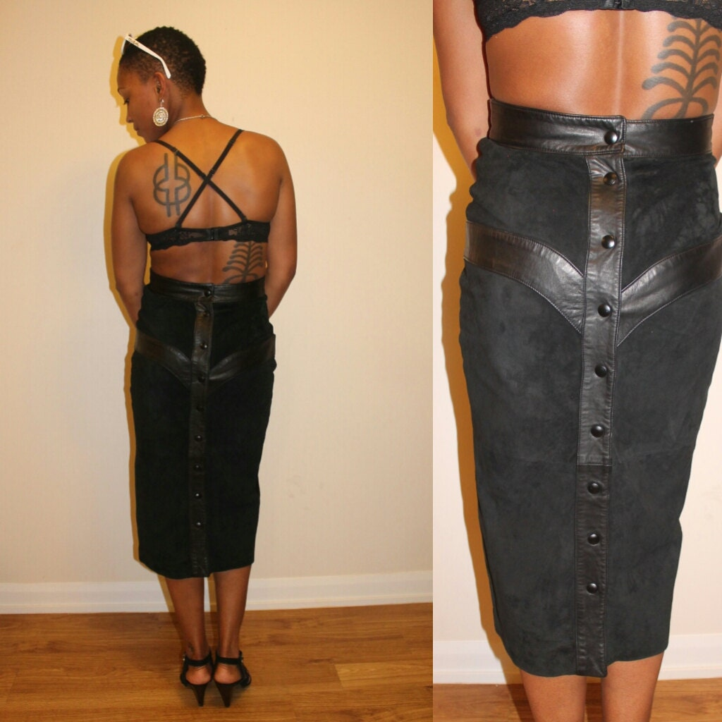 vintage danier black suede v waist pencil skirt by