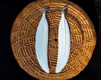 Carved Bone Earrings, Long Feather Earrings, Large Earrings, Sterling Silver Bone Jewelry, Boho Earrings, Bone Carving, Tribal Earrings