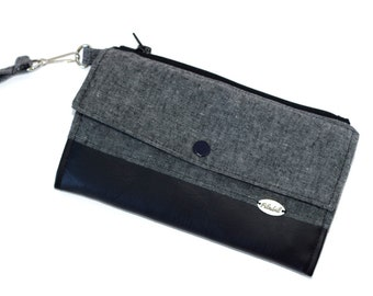 Big wallet with RFID PROTECTION | Travel wallet | 2 zipped pockets , 12 pockets for cards | passport cell  | linen cotton grey | wrist strap