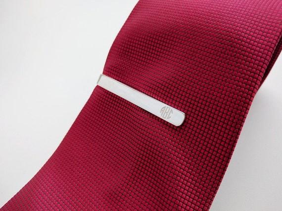 monogram tie clip silverpersonalized wedding tie clip for