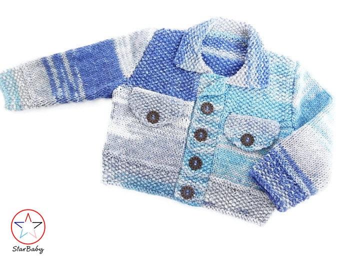 Denim Jacket Knitting Pattern : Baby Denim Denim Jacket Knitted Sweater Baby Knits Tie Dye