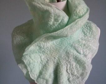 Elegant Soft Aqua Glistening Nuno Felt Scarf with Silk Chiffon OOAK