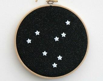 Personalised zodiac hoop art, star sign constellation, bedroom art, birthday gift, baby present, birth sign, horoscope, modern nursery decor