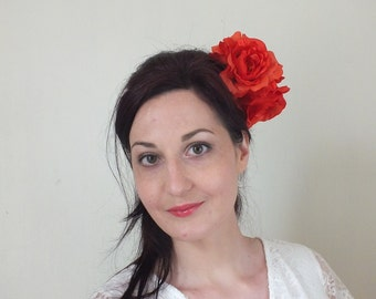 SAMPLE SALE Handmade Burnt Orange Hair Flower Clip Fascinator with Small White Flower