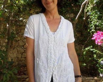 Embroidered short sleeved peasant blouse