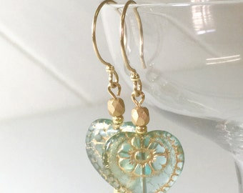 Christian earrings, Blessed are the Pure in Heart,  Aqua, Heart earrings, Bible verse enclosed. Gift for girlfriend. Gift for mother