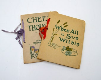Set of Two Antique Inspirational Gift Books, When All is Sun Within and Cheery Thoughts, 1910s