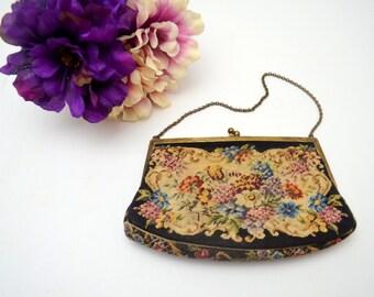 Exquisite Antique Petit Point Purse, Austrian, Vintage Needlepoint Tapestry Handbag, Includes Mirror, circa 1930s