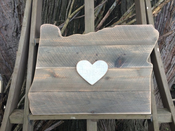 Oregon Wood Cutout Heart In Oregon State Cutout Reclaimed