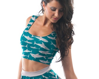Frenzy Crop Top, Shark Short Printed Teal Shirt, Tight Fitted Scoop Neck Reversible Top