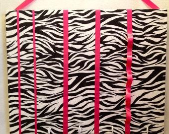 Hair bow accessories organizer, headband holder: zebra print, pink ribbons