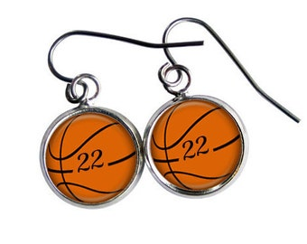 Basketball Earrings Personalized, Basketball Gift, Basketball Mom, Sports Jewelry, Number Jewelry