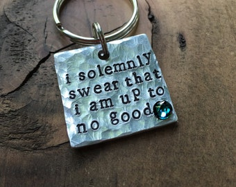 I Solemnly Swear That I Am Up To No Good, Harry Potter, Pet ID Tag, Dog Tag, Hand Stamped Pet Tag