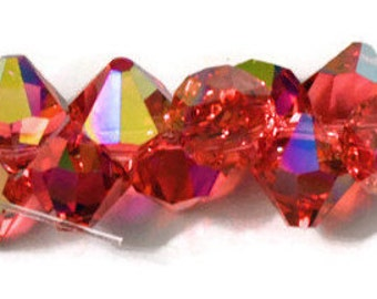 Swarovski Crystal Faceted  Topdrilled Bicone Beads 6mm -Padparadscha AB Article 6301