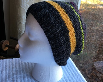 Hand-Knit Hat - Shade of Grey with a Hint of Color