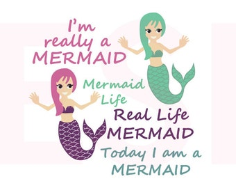 Mermaid svg, Designs and Quotes, Mermaid Life svg, SVG, DXF, EPS, Png, vinyl cut files for use in Silhouette Cameo and Cricut Design Space.