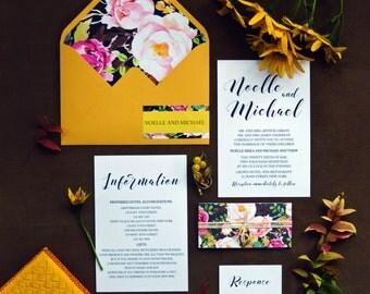 Bohemian Wedding Invitation, Script Wedding Invitations, Belly Band, Wedding Invites, Mustard Yellow, Wedding Invitation Set