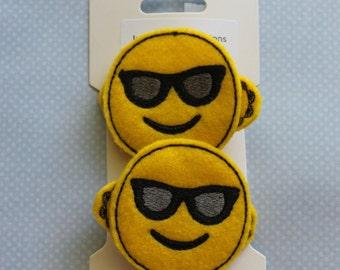 Emoji Hair Clips - Feltie Hair Clips, Sunglasses Emoji, Hair Clips, Feltie Emoji Hair Clips, Snap Clips, Alligator Clips, Handmade