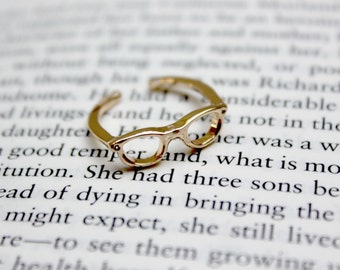 Glasses Ring / Librarian Bookworm Geek Reading Spectacles Jewellery / Rose Gold Silver Copper / Adjustable