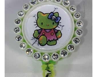 Badge reel - zombie kitty