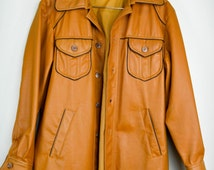 70s Pleather Jacket, 70s Clothing, 70s Clothes, Retro Coat, Vintage Clothing, Vintage Clothes, Retro, Vintage Coat, Tan, Hippie, Men, Small