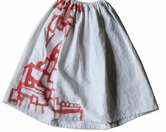 French antique linen skirt with painted/white linen/painted red/handmade/017