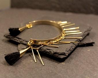 Tassel and Fringe Bangle Bracelet - Gold