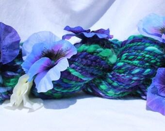 Hand dyed Yarn, Hand Spun Yarn, Purple blue green Flower yarn, art yarn, vegan yarn, bulky weight yarn,