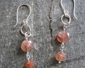 Sunstone earrings, peach gemstone earrings, sunstone and silver earrings
