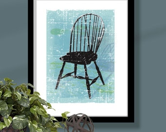 Windsor Chair 3 on turquoise background, chair art, windsor chair print, furniture art, distressed chair print, distressed background