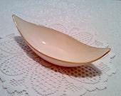 "Vintage Lenox ""Beverly Collection"" Relish Condiment Dish - Mid Century Modern Ivory Porcelain - Atomic - 24 kt Gold Trim - Circa 1960s"