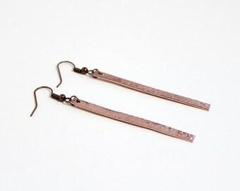 Hammered Copper Bar Dangles | Simple, Minimalist, Earrings