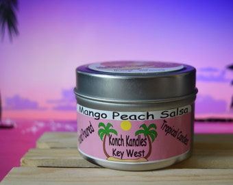 Mango Peach Salsa Travel Candle/Key West Candle/Tropical Candle/Travel Candle/Beach Candle/Container Candle/Candle Gift/Scented Candle