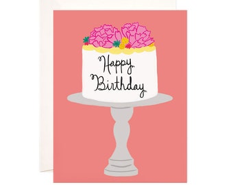 Happy Birthday Card: Handmade Happy Birthday Cake Greeting Card