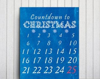 Christmas Advent Printable Calendar Chalkboard Christmas Countdown Calendar, Blue White Advent Calendar, Blue Christmas Decor, Advent Gifts