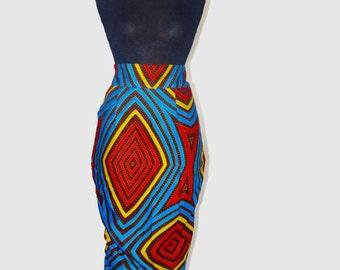 Handmade African high waist pencil skirt